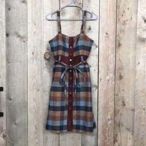 Anthro Newsroom Jumper wool plaid velvet dress 6